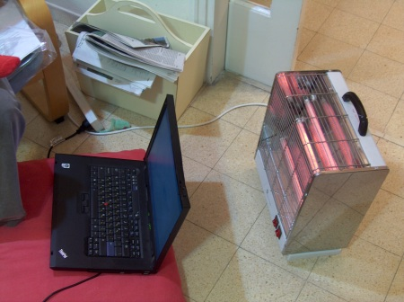 Heater and Laptop on Fire